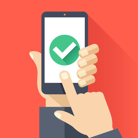 completed: Hand holds smartphone with round green checkmark icon on smartphone screen. Task complete concept. Flat design vector illustration