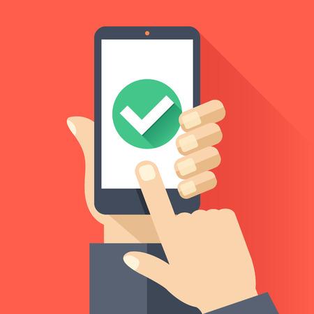 telefono caricatura: La mano sostiene el teléfono inteligente con ronda icono de marca de verificación verde en la pantalla del teléfono inteligente. Tarea concepto completo. Diseño plano ilustración vectorial