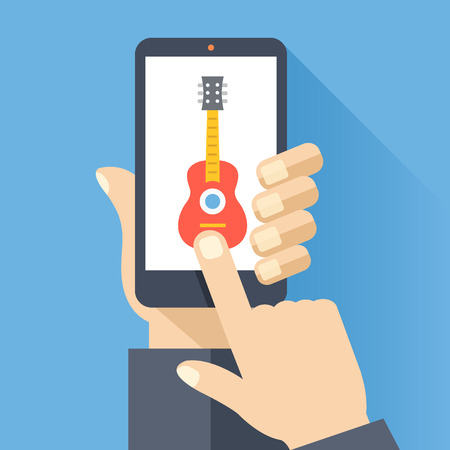 cellphone in hand: Hand holds smartphone with guitar icon on smartphone screen. Listening to music, DAW, audio software concepts. Creative flat design vector illustration