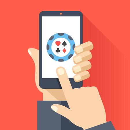 klik: De hand houdt smartphone met ronde poker chip icoon op smartphone-scherm. Online gokken, casino, internet poker concepten. Platte ontwerp vector illustratie