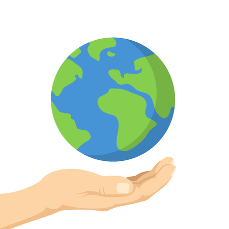 Planet in human hands. Hand palm and planet Earth. Ecology, environment issues, pollution concepts. Vector illustration Stock Illustratie