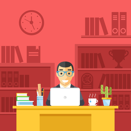 office clock: Happy man at work in office. Smiling man at desk, workspace, office room, place of work concepts. Front view. Modern flat design vector illustration