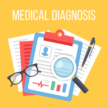 diagnosis: Medical diagnosis flat illustration. Diagnosis, clinical record, medical record concepts. Top view. Flat design vector illustration