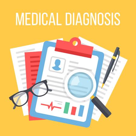 Medical diagnosis flat illustration. Diagnosis, clinical record, medical record concepts. Top view. Flat design vector illustration