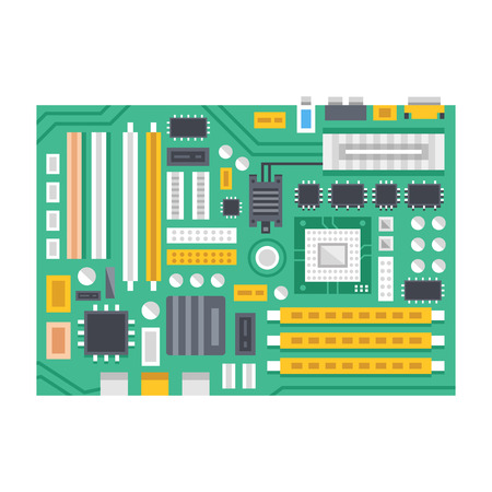 Vector motherboard illustration. Computer main printed circuit board. Flat design Vettoriali