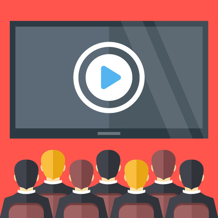 presentation: Sitting people and big black screen with play button. Cinema, business video presentation, corporate training concepts. Flat design vector illustration