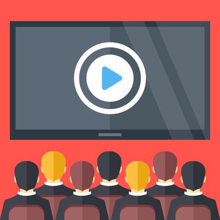 Sitting personnes et grand écran noir avec bouton de lecture. Cinéma, vidéo de présentation de l'entreprise, les concepts de formation en entreprise. Design plat illustration vectorielle