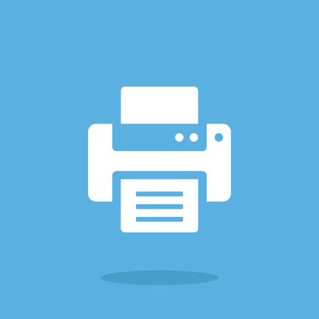 multifunction printer: Vector printer icon. White printer icon