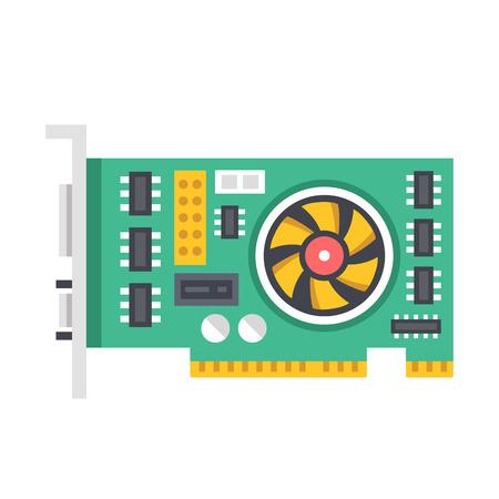 gpu: Vector video graphics card. Video card vector illustration Illustration