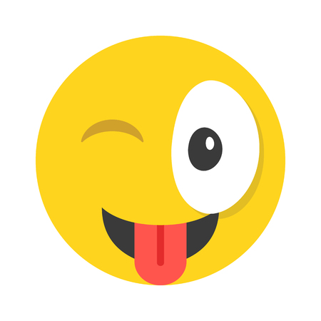 smily: Winking emoticon. Cute emoticon winks and shows tongue