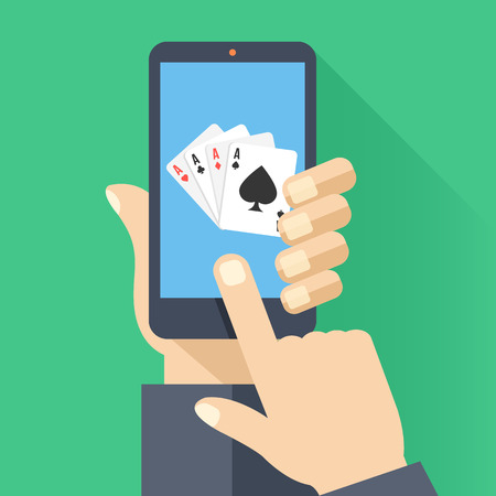 finger touch: 4 aces playing cards on smartphone screen. Hand hold smartphone, finger touch screen. Cellphone poker. Creative flat design vector illustration