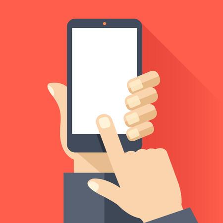 Smartphone z pustym bia? Ym ekranie. Ręcznie trzymaj smartfona, palec ekran dotykowy. Szablon telefonu komórkowego. Nowoczesny płaski wzór ilustracji wektorowych