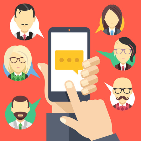 Message icon on smartphone screen and people avatars. Chat, social network, instant messaging concepts. Modern flat design. Creative flat vector illustration Çizim