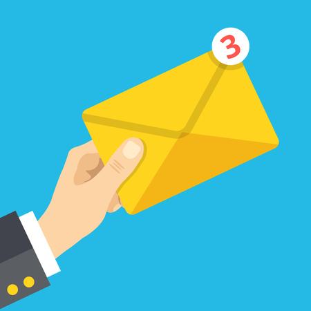 correspondence: La mano sostiene el sobre con la notificación. Correo electrónico, carta, correspondencia, un nuevo mensaje de correo electrónico, mensajes entrantes conceptos. Diseño plano ilustración vectorial