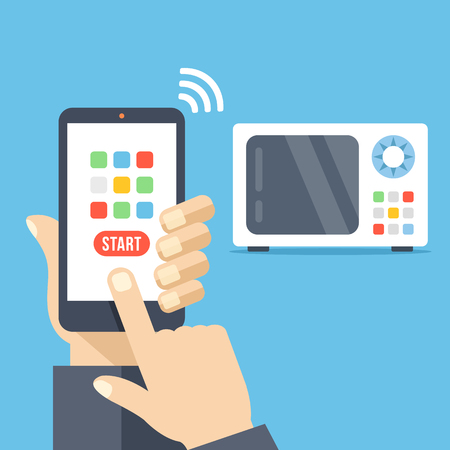 cellphone in hand: Smartphone remote control app. Microwave controlled via smartphone with wifi. Hand holds cellphone with buttons. Modern flat design vector illustration