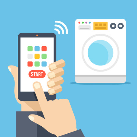 controlled: Washing machine controlled via smartphone with wifi. Smartphone remote washer control app. Hand holds cellphone with buttons, finger touch screen. Flat design vector illustration