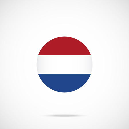 dutch flag: Netherlands flag round icon. Dutch flag icon with accurate official color scheme. Vector icon