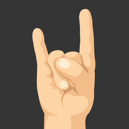 horns: Rock hand gesture. Sign of the horns. Realistic vector hand with rock sign. Vector illustration