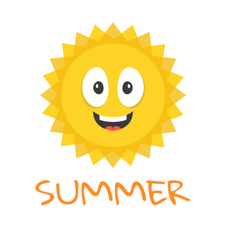 yellow orange: Cute sun character. Funny smiling sun mascot and summer title. Cartoon vector illustration