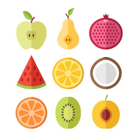 simple cross section: Vector fruits slices set. Apricot, kiwi, orange, coconut, lemon, watermelon, pomegranate, pear, apple cutaway fruits set. Flat design vector icons set Illustration