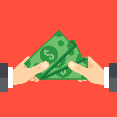 payday: Hand giving cash and hand receiving cash. Funding, bribe, donation, payday concepts. Modern flat design vector illustration