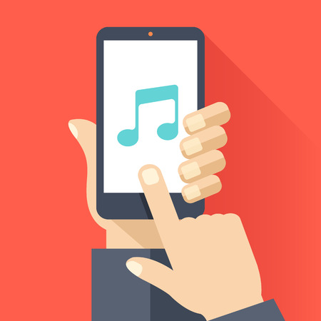 touch screen hand: Music app on smartphone screen. Hand hold smartphone, finger touch screen. Music streaming service. Modern flat design vector illustration Illustration