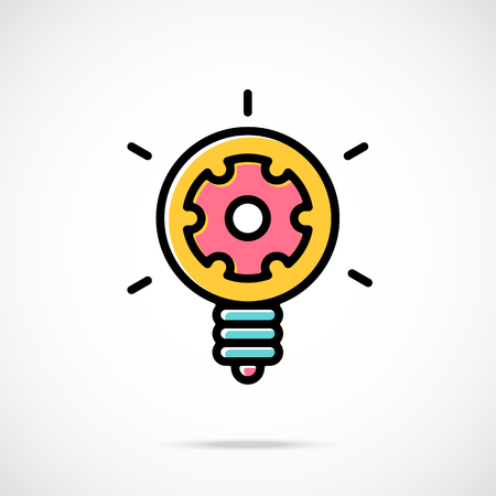 icon red: Vector light bulb and gear icon. Idea concept. Cool cartoon light bulb and cog inside. Modern thin line flat design vector icon