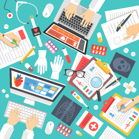 Medical staff, scientists at work. Top view. Medicine icons set. Medical teamwork, diagnostics concepts. Flat design vector illustration