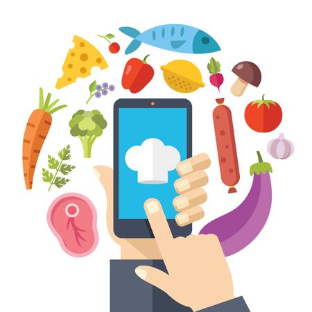 cartoon kitchen: Mano que sostiene teléfono inteligente con recetas en línea de aplicaciones en la pantalla. Iconos de los alimentos. El cocinar en el concepto de hogar. Diseño plano ilustración vectorial