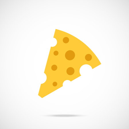swiss cheese: Vector cheese icon. Flat piece of cheese icon. Flat design vector icon