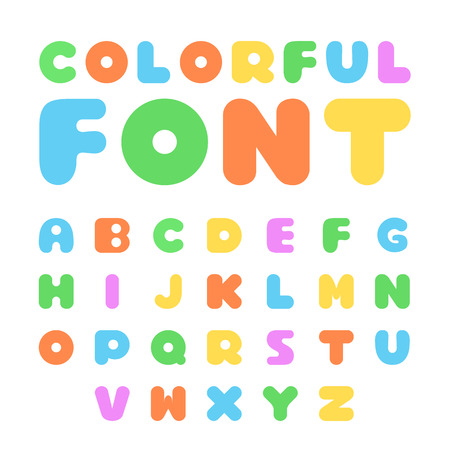 bold: Colorful font set. Bold cartoon font, English alphabet with colorful letters. Flat design vector illustration Illustration