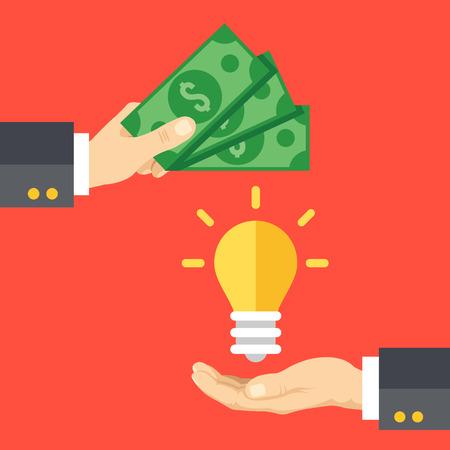 Hand holds money, hand holds lightbulb. Buy idea, investing in innovation, modern technology business concept. Modern flat design vector illustration Vettoriali