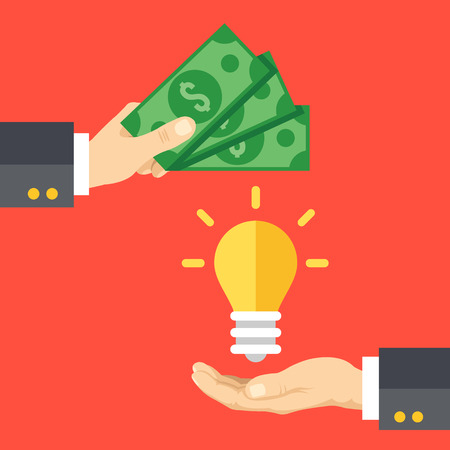 Hand holds money, hand holds lightbulb. Buy idea, investing in innovation, modern technology business concept. Modern flat design vector illustration Illustration