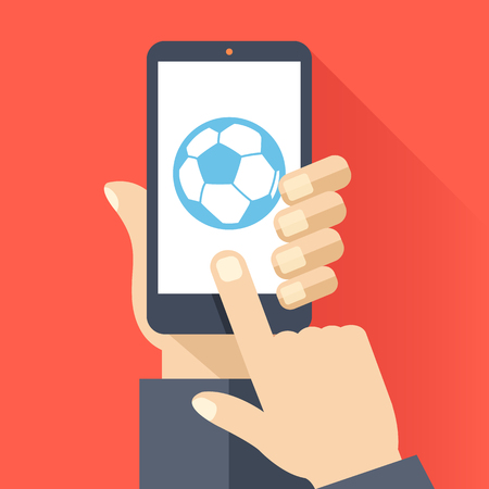 touch screen hand: Football app flat concept. Hand holds smartphone with football ball on phone screen. Finger touch screen. Vector illustration Illustration