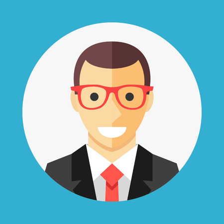 profile picture: Vector businessman profile icon, man avatar picture in white circle. Flat design graphic concept. Vector icon Illustration