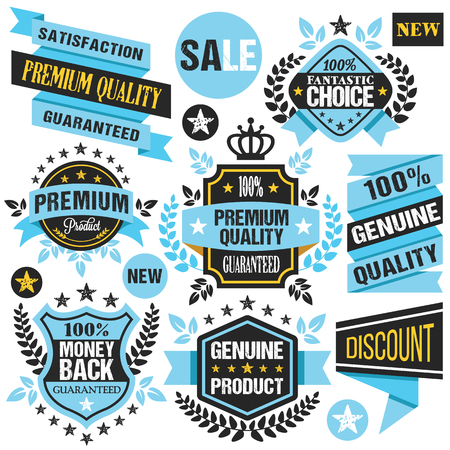 satisfaction guaranteed: Blue stickers, badges, ribbons and labels set. Creative flat design graphic elements. Vector illustration