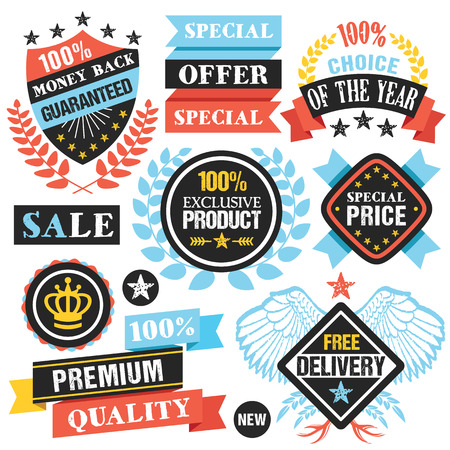 special offer: Colorful labels, stickers, ribbons and badges set. Creative flat design graphic elements. Vector illustration Illustration