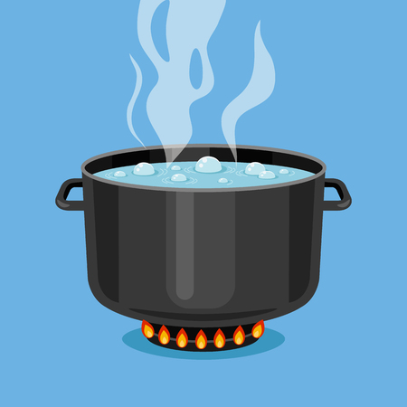 boiling pot: Boiling water in pan. Black cooking pot on stove with water and steam. Flat design graphics elements. Vector illustration