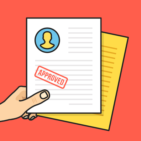 job application: Hand holding approved job application. Approved CV with stamp. Creative thin line flat design graphic elements. Cartoon vector illustration