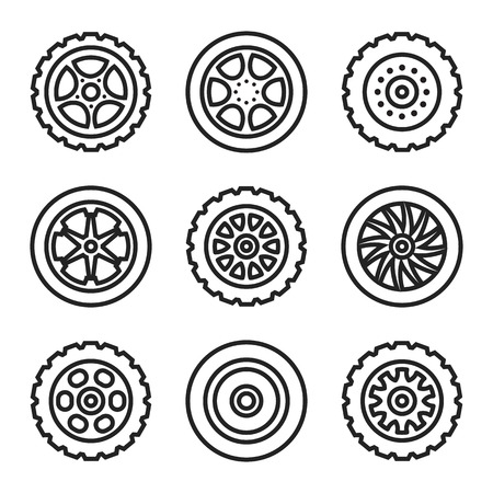 car wheels: Thin line tires and wheels icons set. Car tyres set. Transparent vector icons isolated on white background