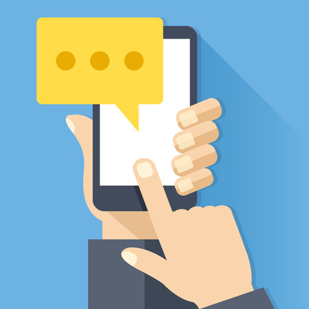 Chat icon, message on smartphone screen. Hand holds smartphone, finger touches screen. Modern instant messaging concept. Creative flat design vector illustration