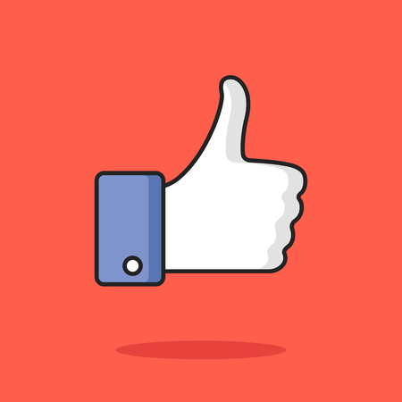 Like icon. Thumbs up concept. Trendy modern clean thin line flat design graphic elements. Vector illustration