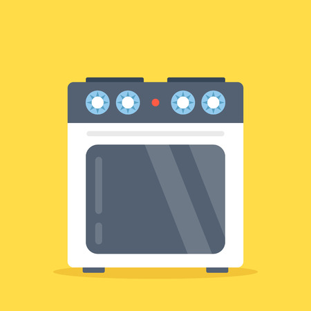oven range: Vector stove. White electric kitchen stove with oven isolated on yellow background. Flat design vector illustration Illustration