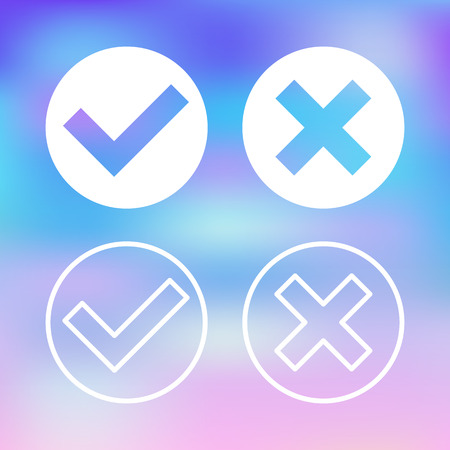 White check marks set. Transparent ticks and crosses icons. Flat design vector illustration isolated on trendy blurred background Illustration