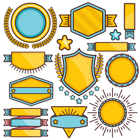 yellow line: Vector labels, banners and badges set. Creative flat thin line design blue and yellow badges. Vector illustration. Set 1