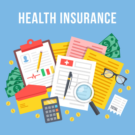 Health insurance, life insurance calculation concept. Top view. Modern flat design graphic elements and icons set. Creative vector illustration Vector Illustration