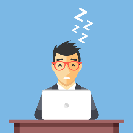taking nap: Businessman sleeping at work. Man asleep at desk. Taking a nap concept. Flat design vector illustration