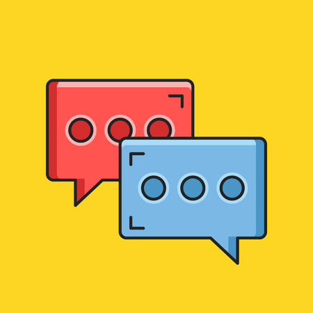instant message: Vector chat icon. Blue and red message signs. Instant messaging concept. Thin line flat design. Vector icon Illustration