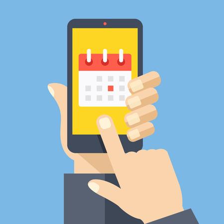 zeitplan: Symbol Kalender, Zeitplan, Planung App auf dem Smartphone-Bildschirm. Moderne Flach Design Vektor-Illustration