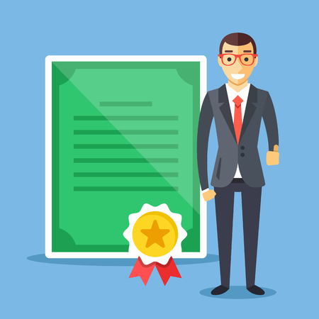 master degree: Professional certification, business education concepts. Happy man in suit with diploma and gold award medal. Flat design vector illustration